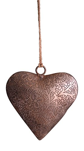 Engraved Metal Heart - Metal Etched Engraved Heart Shaped Ornament on Burlap Twine (1 Piece)