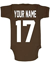 Football Custom Personalized Baby Bodysuit with Name and Number of Your Choice