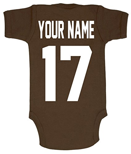 Personalized Football Shirt - Football Custom Personalized Baby Bodysuit with Name and Number of Your Choice (0-3 Months)