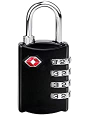COMLIFE Candados de Combinación de Seguridad TSA Lock Bloqueo de Contraseña de 4 Dígitos para Equipaje Maleta, Bolso del Recorrido y Armario del Gimnasio, Negro