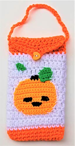Cute Crocheted Cell Phone Case iPhone/Android Phone Bag Cases Pumpkin Gifts Birthday Gift Halloween Fall Gifts Eye Glasses Bag - Convenient For Walking, Running and Other Outside Activities -