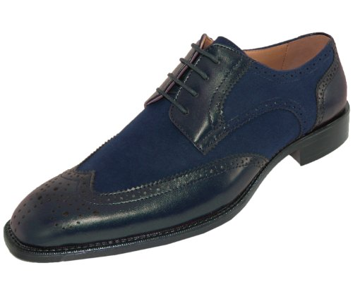 Bolano Mens Navy Classic Suede and Smooth Dress Shoe: Style Stefano Navy-002
