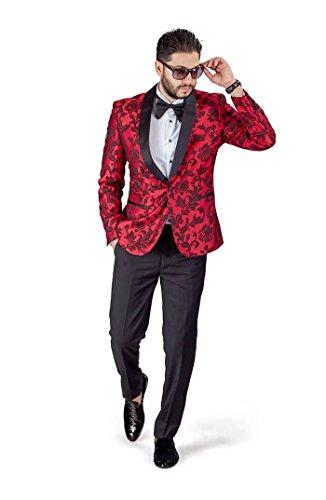 Slim Fit 1 Button Shawl Satin Collar Floral Jacket Tuxedo Black Pants by Azar 1714 (38 Regular 32 Waist 32 Length, Red - Shawl Tuxedo Black Black Collar Jacket