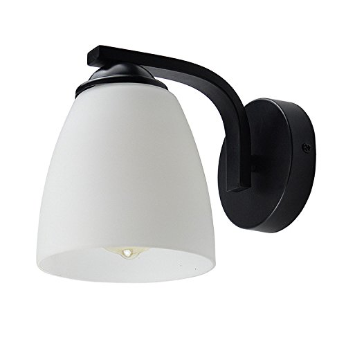 Lysed Wall Sconce Fixture E27 Edison Light Bulb-Not Included White Frosted Glass Shade Black Painting Finish Wall Mount Light for Living Room Bedroom Home Decoration(Oval Style)