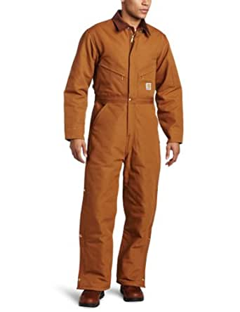 Carhartt Men's Quilt Lined Duck Coveralls,Brown,34 Short