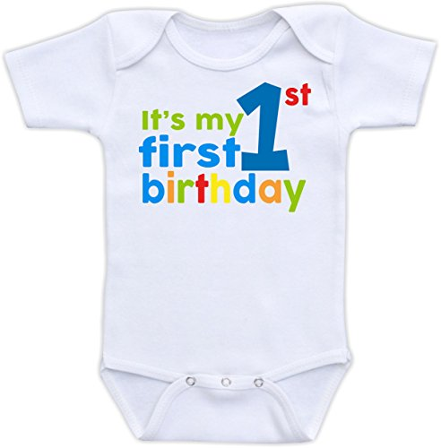 It's My First Birthday - Cute Baby Bodysuit (18M Short Sleeve Bodysuit, Boy Scheme)