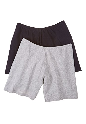 Comfort Choice Women's Plus Size 2-Pack Cotton Fitted Boxer Boyshort (Fitted Boxer Shorts)
