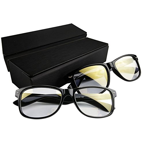 Eyecare Computer Glasses - 2 Piece Superb Anti-glare Computer Reading Glasses to Relieve Digital Eye Strain | Black | Premium Shatterproof Acetate Frame and Scratch Resistant Lens | - Online Buy Designer India Sunglasses