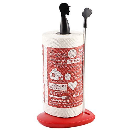 Paper Towel Holder,SimplyTear Counter Top Standing Roll Paper Towel Holder One-Handed Tear Tabletop Tissue Holder for Kitchen Bathroom Home Decor(BLACK)
