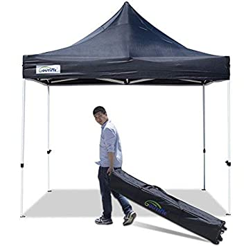 Goutime 10×10 Ft Pop Up Canopy, Outdoor Instant Canopy Tent, Waterproof Ez Up Shelter for Beach, Backyard, Tailgate, Party Black