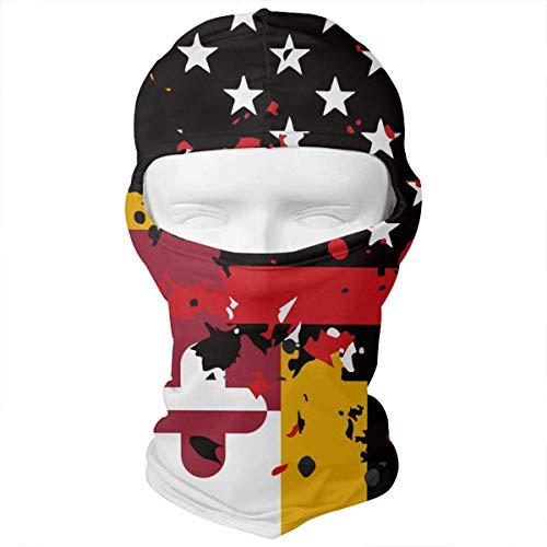 (Yuisdwz Maryland Thin Red Line Flag USA Balaclava Face Mask Headwear Helmet Liner Gear Full Face Mask Hood Hunting Mask)