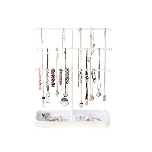 JackCubeDesign Metal 3 Tier Jewelry Display Stand Tree Organizer Bracelet Necklace Holder Rack Hanger Tower with Earring Ring Tray Storage Tabletop(White, 12.1 x 4.1 x 16.1 inches) – :MK320F by JackCubeDesign (Image #3)