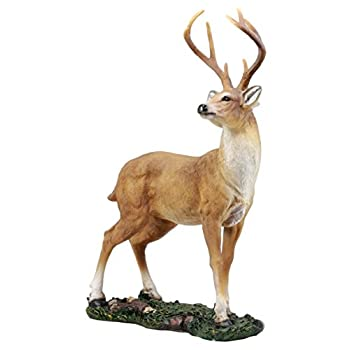"Ebros Gift Wildlife 8 Point Trophy Buck Statue 15.25"" H Outdoor Hunter Whitetail Deer Decorative Figurine Cabin Lodge Rustic Sculpture of Stags Deers Does Bambi"