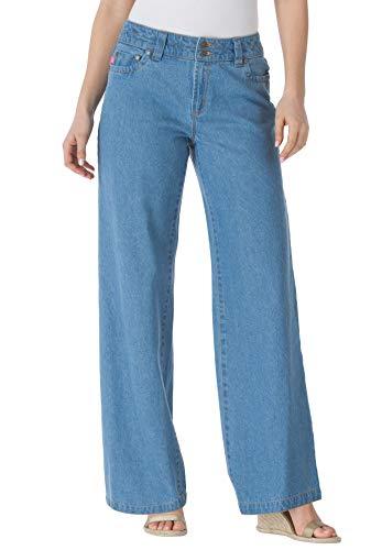 (Woman Within Women's Plus Size Wide Leg Cotton Jean - Light Stonewash, 18)