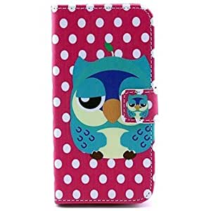PEACH- Owl Pattern Full Body PU Leather Case with Stand and Card Slot and Money Holder for Samsung Galaxy S5mini