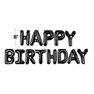 Self Inflating Happy Birthday Balloon Banner Bunting 16 inch Letters Foil (Black)