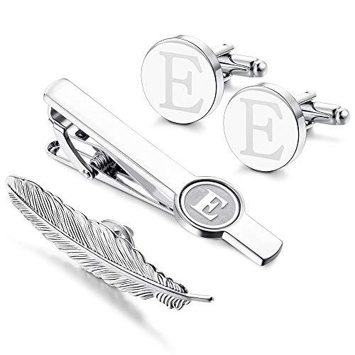 - LOYALLOOK Initial Cufflinks and Tie Clip for Men Women Engraved Shirt Cufflink Alphabet A-Z Tie Bar Set for Business Wedding Gift E