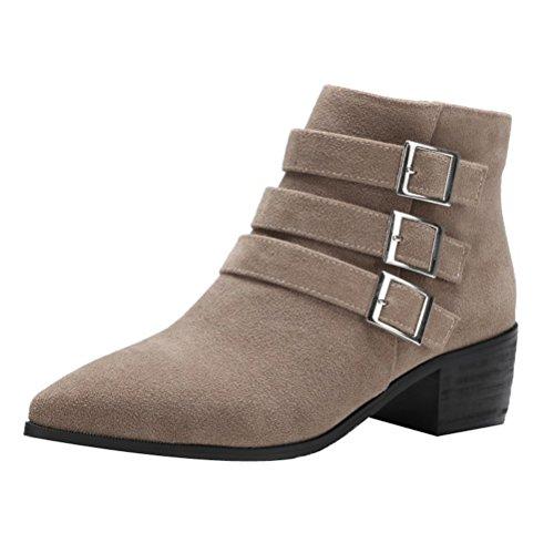 Donalworld Femmes Suede Talon Haut Martin Cheville Boot Pt6