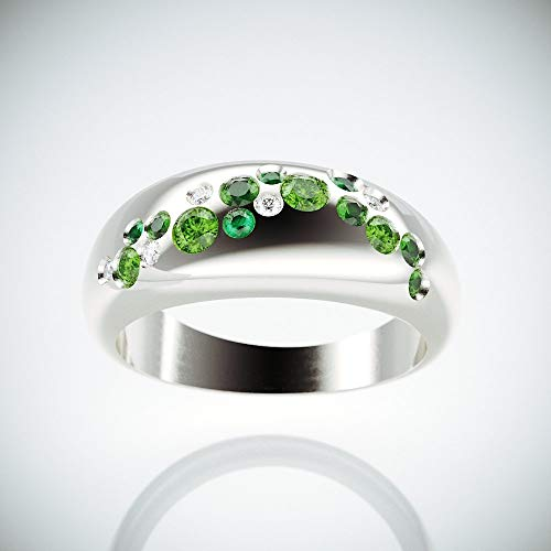 14k White Gold Green Sapphire - | Morning Due 14k White Gold Cluster Ring set with Diamonds, Emeralds, Green Sapphire and Peridot |14k White gold cluster ring inspired by Morning