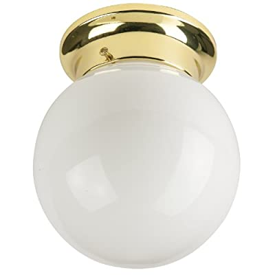 Sunlite Energy Saving Globe Ceiling Fixture, Polished Brass Finish White Glass