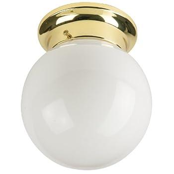 Sunlite GLO6/PB/GU24/1-18/ES 6-Inch Energy Saving Globe Ceiling Fixture, Polished Brass Finish White Glass