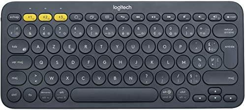 Logitech K380 Teclado Inalámbrico Multi-Dispositivos para Windows, Apple iOS, Android, Chrome, Disposición AZERTY Francés, Gris