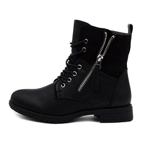 Damen Schnür Stiefeletten Worker Boots mit Reißverschluss in hochwertiger Lederoptik Schwarz