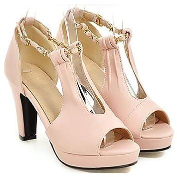 LvYuan-ggx Damen High Heels Pumps PU Sommer Kleid Pumps Blockabsatz Schwarz Beige Rosa 10 - 12 cm