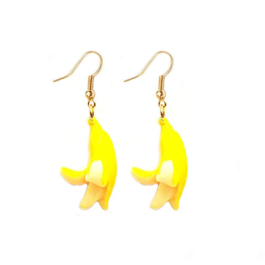 JOYID 3D Banana Dangle Stud Earrings Resin Cute Friut Earrings for Women Kids Girls
