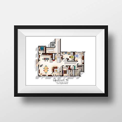 New Girl TV Show Apartment Floor Plan- New Girl TV Show Layout - Apartment 4D Floor Plan - New Girl Poster - Gift Idea for New Girl Fan