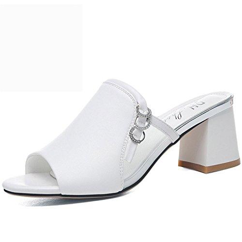 Gasas usar frío zapatos suela grueso black tacón señoras gruesa Moda para zapatillas AJUNR de Sandalias zapatillas elegante Transpirable W610IxqP7
