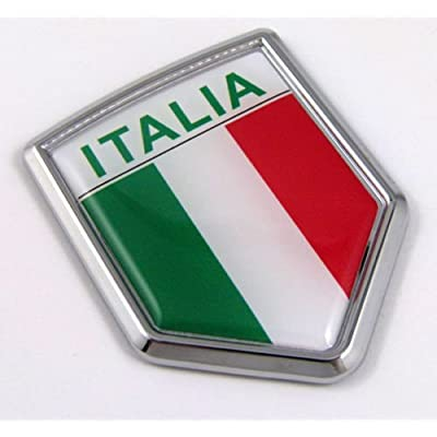 Car Chrome Decals CBSHD101A Italia Italy Italian Flag Car Chrome Emblem Decal 3D Sticker: Automotive