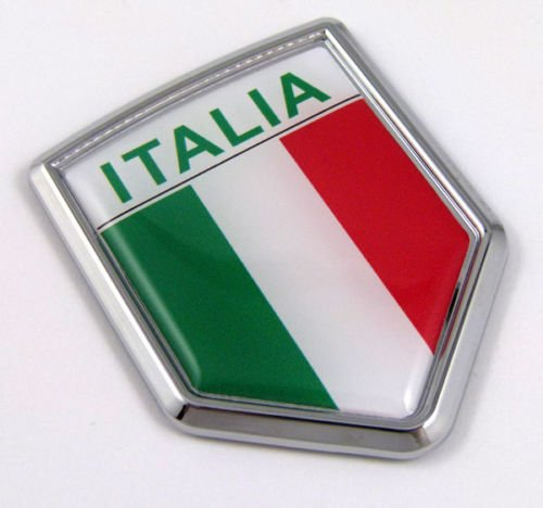 Car Chrome Decals CBSHD101A Italia Italy Italian Flag Car Chrome Emblem Decal 3D Sticker