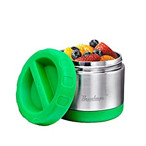 Vacuum Insulated Food Jar 14-Ounce - 100% Stainless Steel Interior - Leak Proof Soup Jar & Food Storage Container, Green