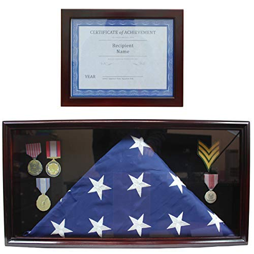 Flag Display Case Military Shadow Box Cabinet, with Certificate Frame, 2 Pcs Set (Mahogany)