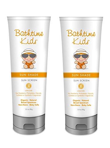 Bathtime Kids Sun Shade Sunscreen – SPF 32, Organic, Toxin Free, No Artificial Fragrances, Natural for Kids & Baby – 3 oz - Uba Uva