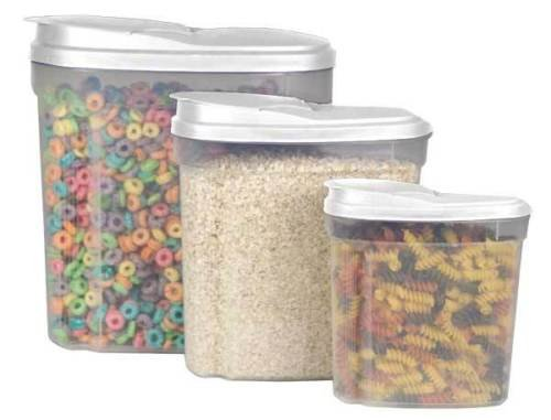 Durable Plastic Construction 3 Piece Cereal Container Set Keeps Cereal Fresh - Online Costco Glasses