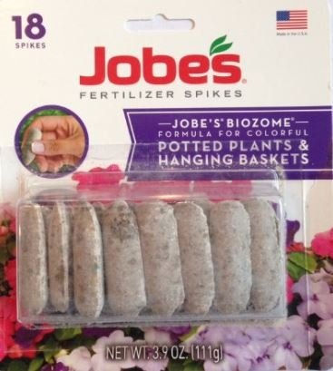 Flowering Plant Food (Jobes Biozome Fertilizer Formula for Potted Plants & Hanging Baskets (Pack of 4 | 18 Spikes Per Pack | 72 Total Spikes))