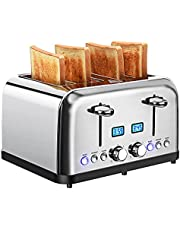 Toaster 4 Slice, Stainless Steel Toaster with LCD Digital Timer, Dual Control, 6 Shade Settings, Removable Crumb Tray, Auto-Shutoff, 1.5 Inch Extra Wide Slot for Various Bread Types, Bagel/Defrost/Reheat/Cancel, 1500W/Silver
