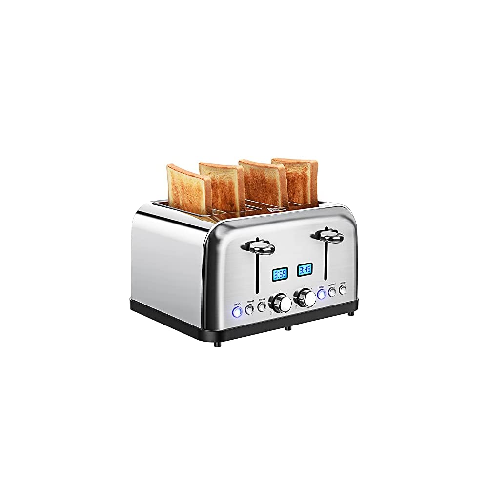Toaster 4 Slice, Stainless Steel Toaster with LCD Digital Timer, Dual Control, 6 Shade Settings, 1.5 Inch Extra Wide…