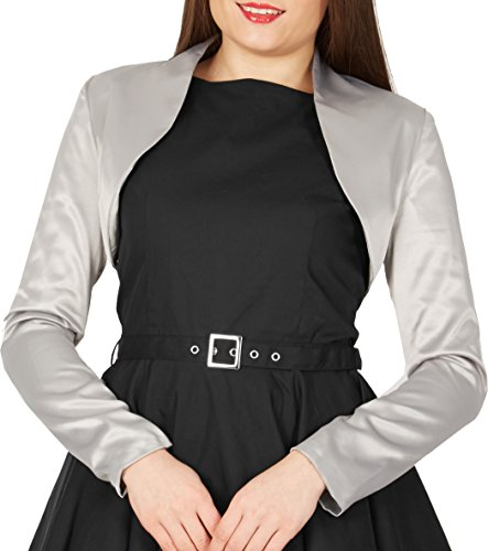 BlackButterfly Formal Satin Long Sleeve Bolero Shrug (Silver, US 12) - Satin Wedding Bridal Bolero