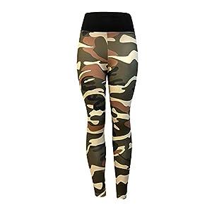 iLUGU Womens Fashion Workout Sports Pants Leggings Fitness Gym Work Out Yoga Moto Running Yoga Athletic Army Green