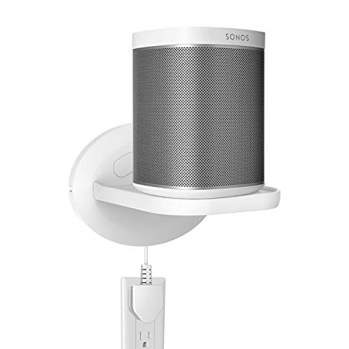 Wall Mount Shelf Holder for Sonos Play:1 /Sonos One/Google Home Mini/Cellphone/Security Cameras/A Space-Saving Solution for Anything Up to 15lbs-White