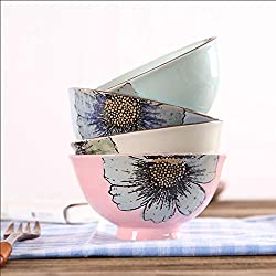 YHY Japanese-Style Round Creative Ceramic Four-Color Bowl, Anti-scalding Hand Painted Bowl of Plant Flower Rice Bowl, 4 Piece Set