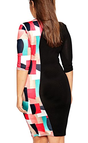 Ghope Femmes Plus Size Conception 3/4 manches solides Gauze Mini robe de soirée Splice