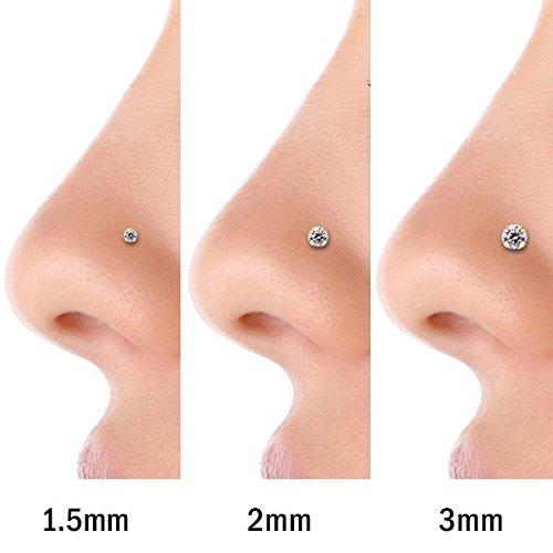 FreshTrends 14K White Gold Diamond Nose Ring with Flush Bezel Setting 18 Gauge I1 NSE-3FLBZSI1-WG-LSHPE-18