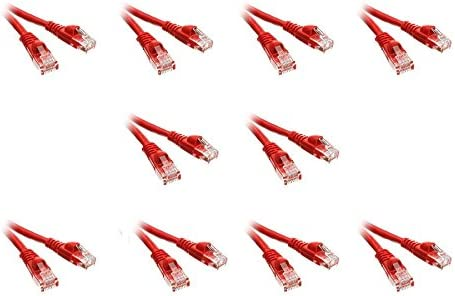 Snagless//Molded Boot 1 Foot Red CNE497254 10 Pack Cat5e Ethernet Patch Cable