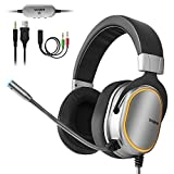 Vinpie Gaming Headset for PS4, PC, Xbox One Headset with 3.5mm Stereo Surround Sound Over Ear Headphones with Noise Cancelling Microphone, LED Lights & Soft Memory Earmuffs for Laptop