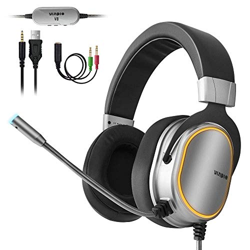 Gaming Headset for PC Headset, Xbox One Headset with 3.5mm Stereo Surround Sound Over Ear Headphones with Noise Cancelling Microphone, LED Lights & Soft Memory Earmuffs for Laptop Mac Nintendo Switch