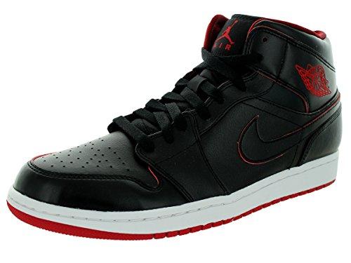 NIKE Men's Air Jordan Retro 1 Mid Basketball Shoes Black 554724-028 (11.5)